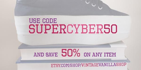 "Super Sale - 50 % off for any item! Use code "" SUPERCYBER50"" and have fun! :) #cybermonday #blackfriday #vintage #fashion #sale #etsy #clothing #plussize #accessories #retro"