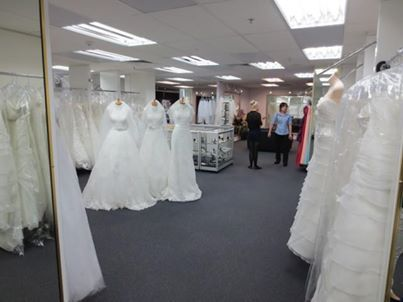 The dressmakers from The Bridal Center can provide beautiful bridal dresses with veils.