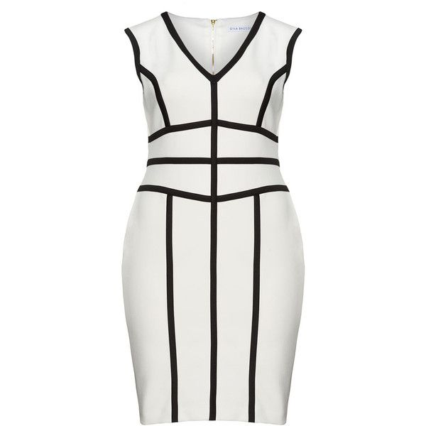 Gina Bacconi Black / Cream Plus Size Monochrome cocktail dress found on Polyvore
