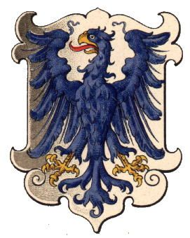 The Duchy of Auschwitz (now Oświęcim Poland) was bought by the Polish Kings in 1457. After the Polish Division in 1772 the Duchy became part of Austria-Hungary. The eagle is either the old eagle of Silezia, or the eagle of Poland. The colours were changed to silver and blue in 1806