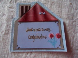 housewarming card,  I used corrugated cardboard for the roof and there are tiny birds on the roof, from a small punch