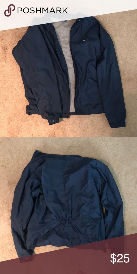 Dark blue Nike waterproof jacket ❤️ Really cute jacket that cinches in at the waist. Jackets & Coats