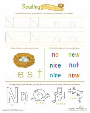 Number Names Worksheets : letter n preschool worksheets ~ Free ...