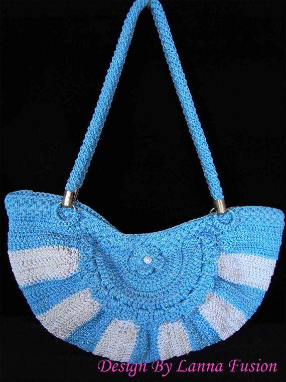 Borse blu cielo semicerchio e Pearl bianco uncinetto maniglia blu e bianco borsetta blu borsa blu Tote blu borse di lusso (N29)
