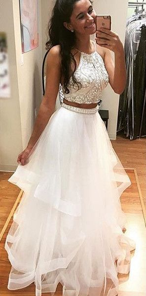 179 USD.Two Pieces Prom Dress,Sexy Evening Dress,Halter Prom Dresses,Backless Long Party Dress,White Tulle Prom Dresses