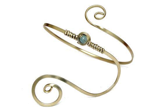 Aqua Blue Armlet Wire Arm Band Aquamarine Arm Cuff Spiral Silver Armlet Wedding Arm Band Bridal Arm Cuff Bridesmaid Armband Silver Cuff