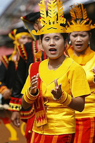 The traditional West Nias war dance known as Talele and Maluaya is a vibrant display of singing and dancing performed here by the local woman of West Nias. North Sumatra, Indonesia