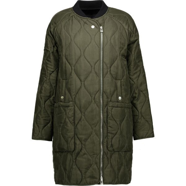 Belstaff Quilted Silk Satin Coat ($518) ❤ liked on Polyvore featuring outerwear, coats, army green coat, quilted coat, olive green coat, belstaff and belstaff coat