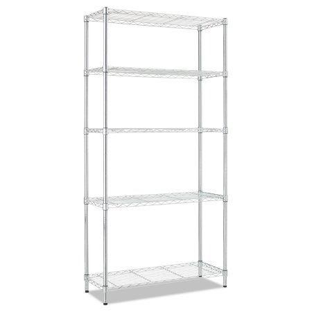 Alera Residential Wire Shelving, Five-Shelf, 36w x 14d x 72h, Silver, Multicolor