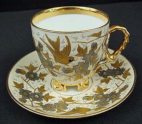 Antique Bohemian Tea Cup & Saucer