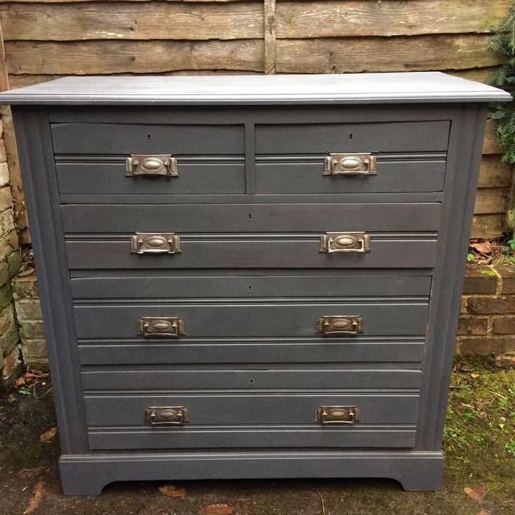 Antique Vintage Edwardian Chest Of Drawers Grey Dressing Table Wood Large