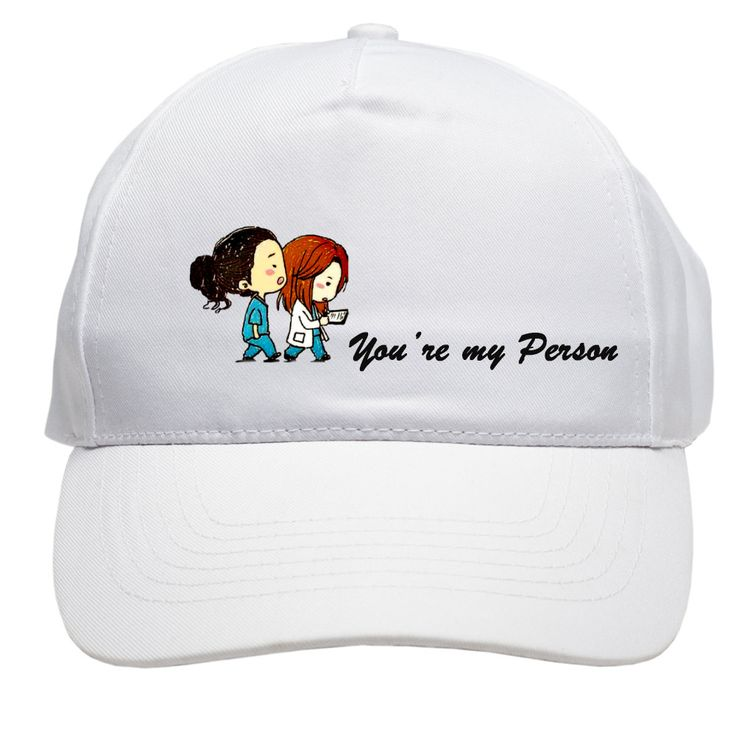 Cap-Grey's Anatomy-You're my Person-quote-summer-cartoon-meredith-cristina-yang-grey-summer-baseball-hat-white-black-red-blue-fall-spring by EvlogiaCustomDesigns on Etsy
