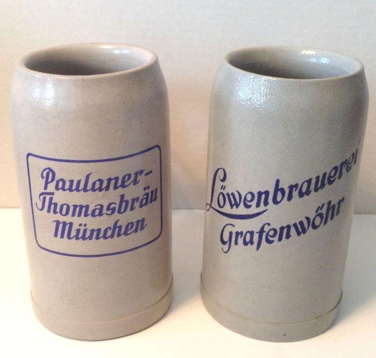 Vintage Stoneware Mugs Beer Steins Germany Lowenbrau Paulaner Munchen Blue Text