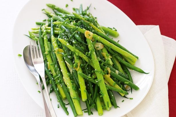 Crisp green beans and asparagus make a delicious Christmas side.