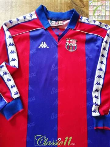 Official Kappa Barcelona home long sleeve football shirt from the 1992 1993  season. be6db6982caeb