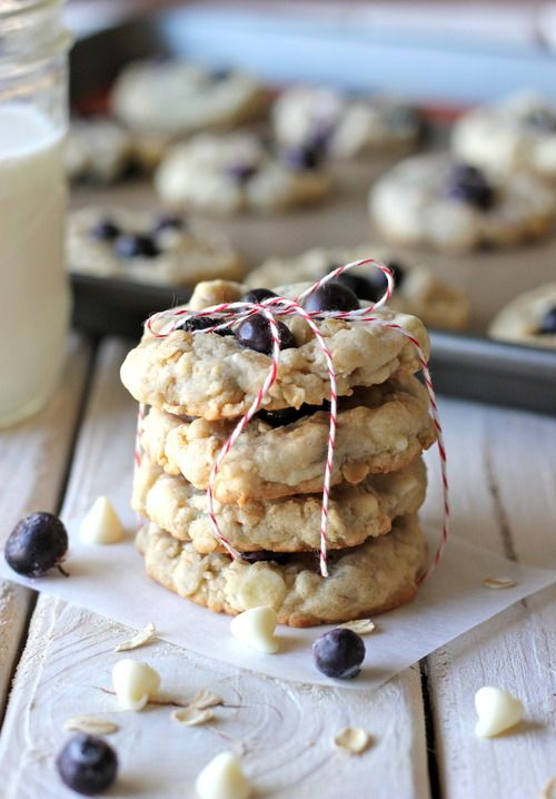 In season in August - blueberries. We reckon these white chocolate blueberry oatmeal cookies would make great back to school treats #food #recipe