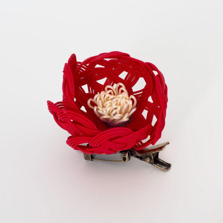 椿のブローチ/髪飾り(赤)│和工房 包結 オンラインショップ