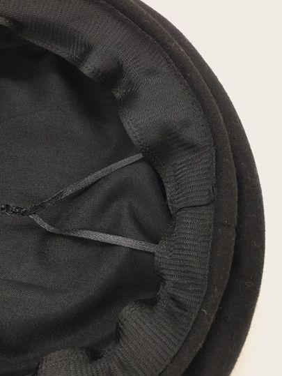 Men Braided Belt Decor Baker Boy Hat   – Other