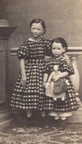 Amazing 1860s 2 Little Girls Matching Check Dresses Cloth Doll Innsbruck Austria | eBay