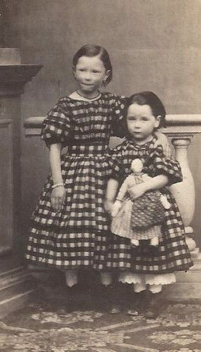 Amazing 1860s 2 Little Girls Matching Check Dresses Cloth Doll Innsbruck Austria | eBay: