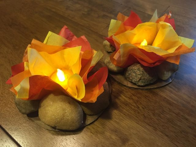Our campfire crafts for the Arrow of Light ceremony!  This idea came from online and Family Fun magazine!  Our Scouts are making 36 of these... they will be so cool in the ceremony!