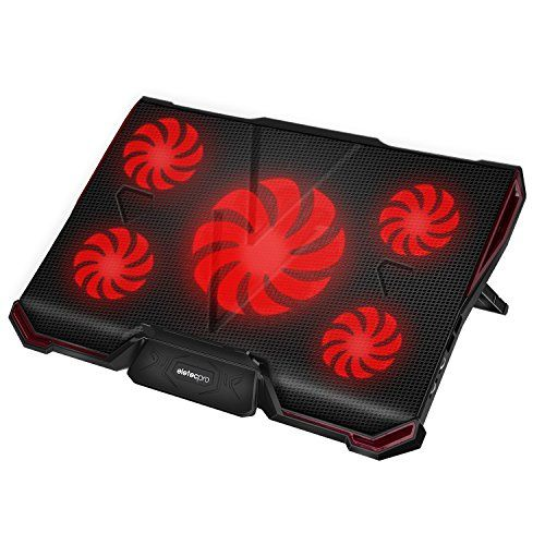 "EletecPro Laptop Cooler External Cooling Fans Pad For 12""-17"" Laptops, 5 Quiet Fans with Red LED Lights, Dual USB 2 Ports, Adjustable Stand Mount Model - laptopsandaccessories"