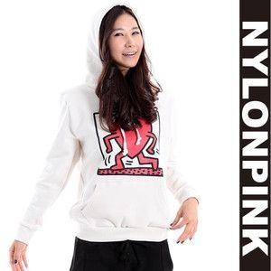キースへリング×ナイロンピンクコラボスウェットパーカーレディース|韓国ファッションブランドナイロンピンク