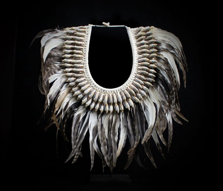 Feather Necklace - Gray Feathers Banded With White Decorated With Long Curled Shells Accent Natural Papua Tribal White Braided Collar by BorneoHunters on Etsy