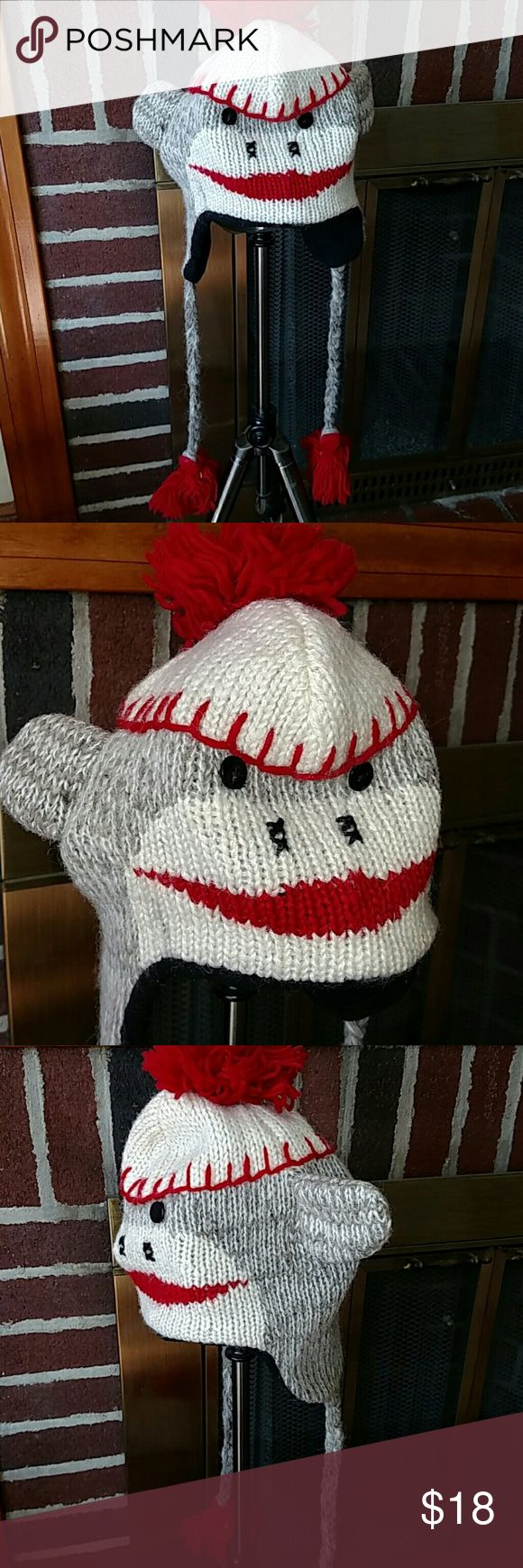 Sock monkey winter hat 🐒🐵 This hat is adorable!!! Accessories Hats
