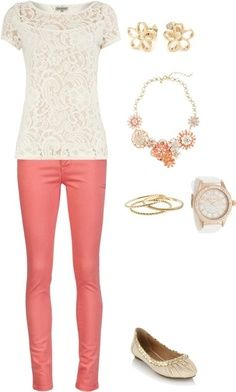 Love the pants color!  Shirt could be worn w/ any color...mint...