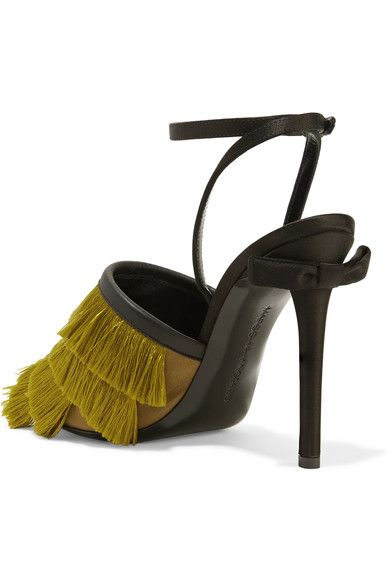 Marco De Vincenzo - Leather-trimmed Fringed Satin Sandals - Chartreuse - IT
