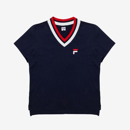 Originale  V넥 요꼬 티셔츠 [오리지날레]V넥 요꼬 티셔츠 (X2RSY355F_NV)