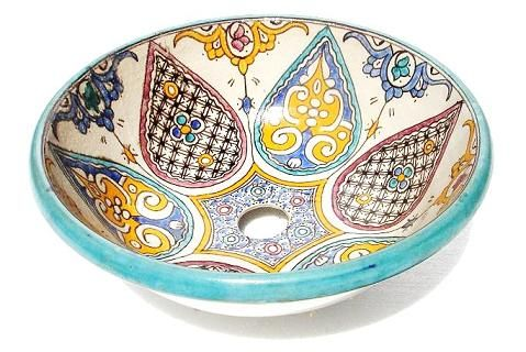 Fes pottery sink, all handmade & hand painted, a great add to any home décor, will give a special look to any bathroom….