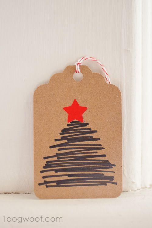 Use markers for a hand-drawn Christmas tree gift tag.  www.1dogwoof.com