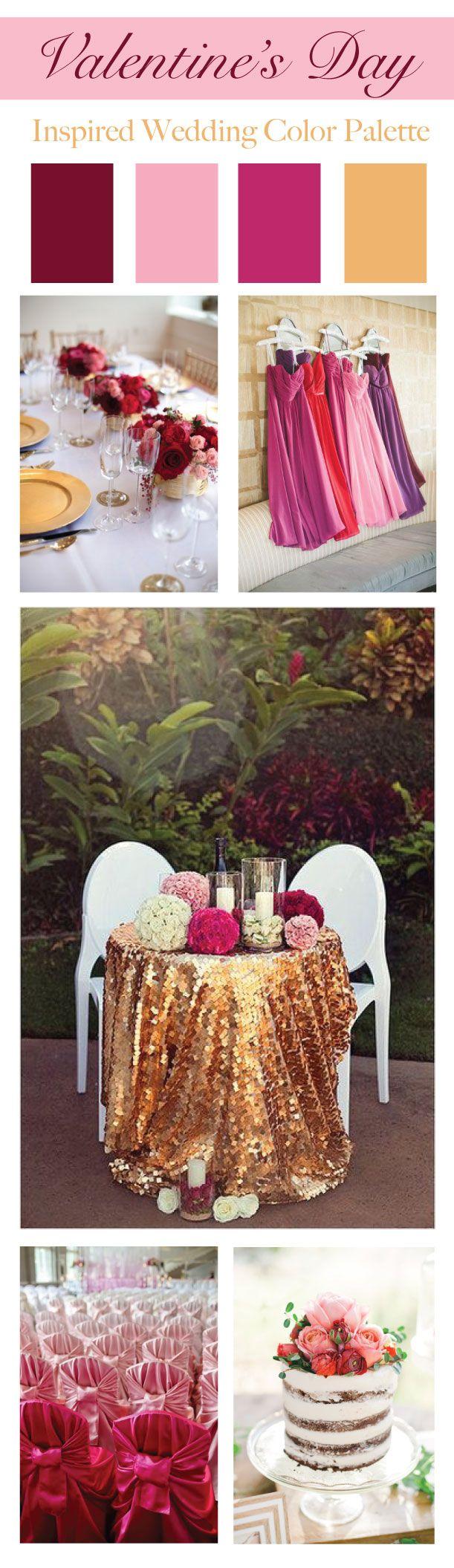 Valentine's Day Inspired Wedding Color Palette | LinenTablecloth Blog #valentine's #colorpalette #wedding