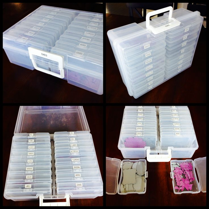 """I purchased a few of these portable photo organizers at my local craft store and converted them into a storage solution for my steel dies (e.g. Spellbinders, Cheery Lynn, MFT, LLLC, Memory Box, etc.) The container includes 16 individual compartments to organize your dies. It's a great way to keep your dies in order and the container easily transports to crops and events!"" ~Arlene #graphic45 #craftorganization2014"