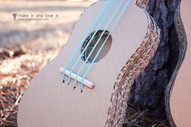 diy guitarra cartón manualidades niños cardboard guitar kids children craft miraquechulo