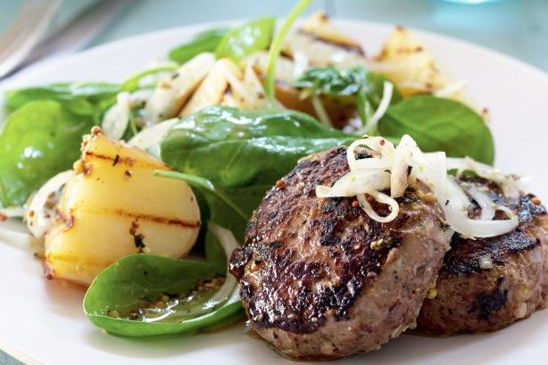 Curtis Stone has your summer dinner sorted with beef rissoles.  Serve outside with grilled potato and spinach salad.