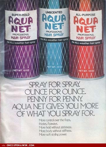 Aqua Net hair spray! better than shellac!!