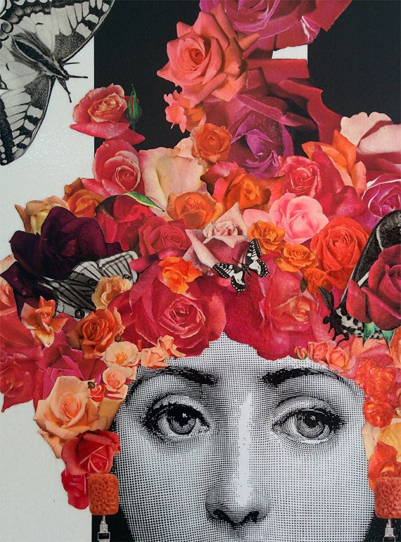 Original artwork part of the series Fading Beauty. Made using the decoupage technique with reproduced stock images from XIXth century engravings, floral cutouts from vintage gardening magazines and illustrations of butterflies and cicadas from old enciclopedias. The portrayed faces are repeated within the series, but compositions are always different. This artwork features the beautiful italian opera singer Lina Cavalieri, Fornasetti´s muse. Over a striped black and white wallpaper…