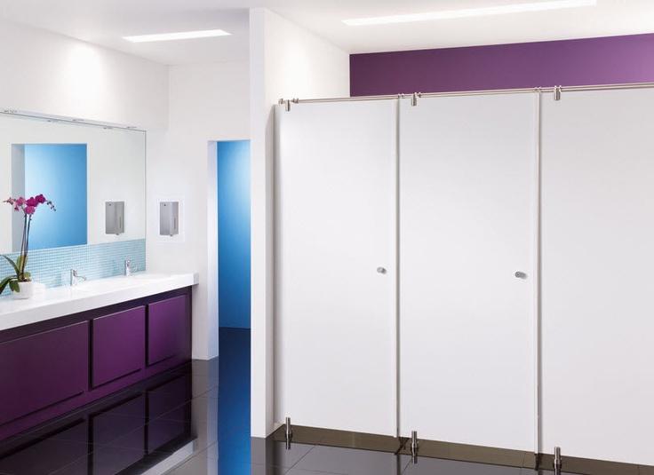 Commercial toilet partition space armitage venesta interiors public restroom design for Commercial bathroom partition walls