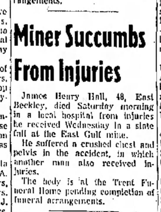 Found in Beckley Post-Herald The Raleigh Register in Beckley, West Virginia on Sun, Jan 9, 1955. Obituary of miner, Ball, dies of slate fall…