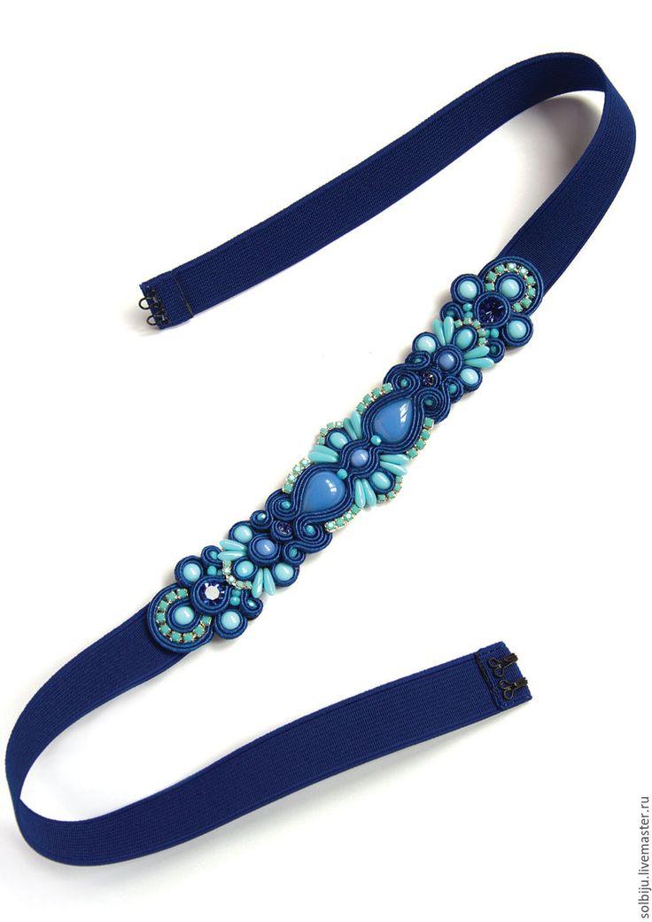Купить Пояс сине-голубой сутажный - темно-синий, сине-голубой, пояс с вышивкой