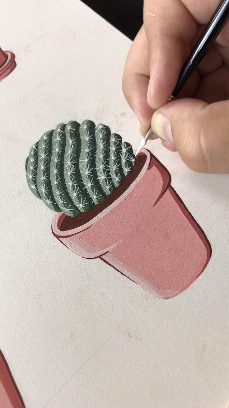 unglaublich Gouache, die einen eingemachten Mammilaria-Kaktus durch Philip Boelter malt