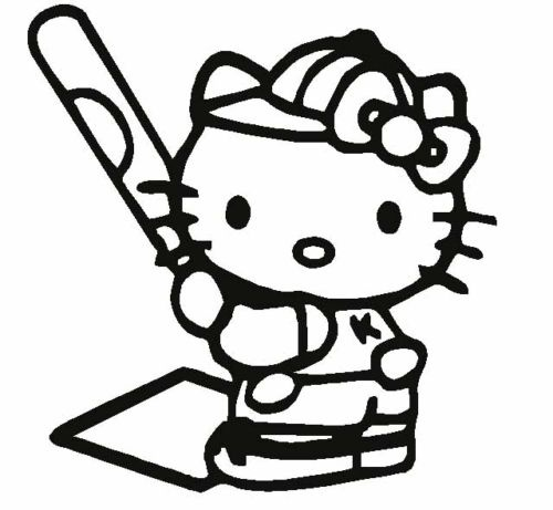 Details About Hello Kitty Softball Baseball Car Decal Logo Coloring Pages