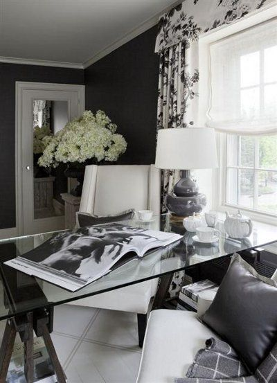 Suzie: Joel Woodward - Chic black office design with bold black walls paint color, white & ...