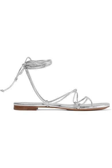 Michael Kors Collection - Bradshaw Metallic Leather Sandals - Silver - IT39.5