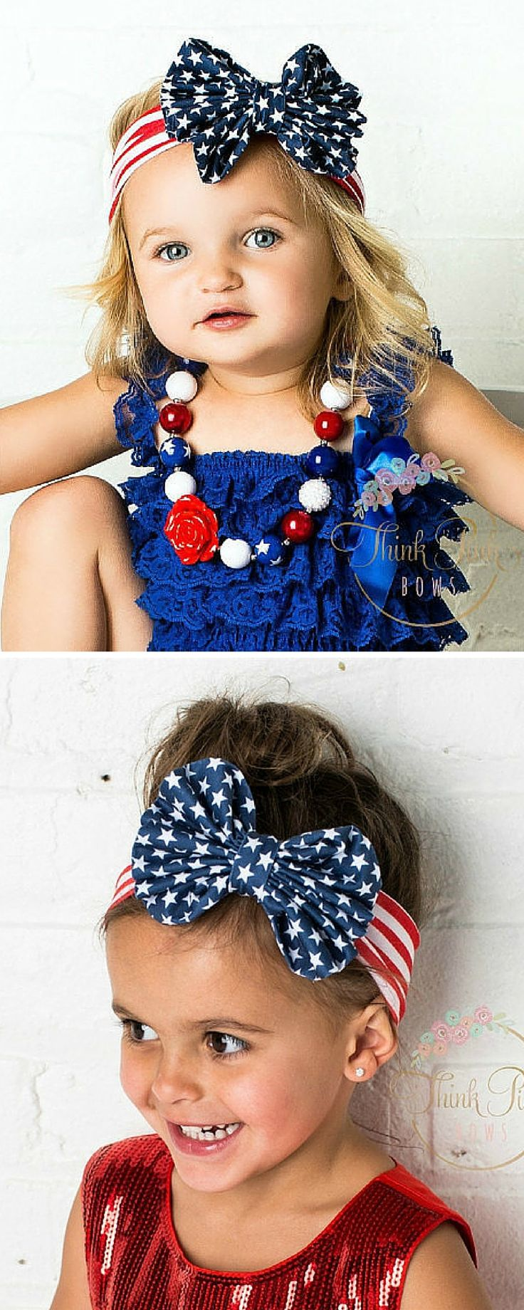 "Made from soft cotton jersey and with a big 4"" bow this stretchy headwrap is a must outfit for 4th of July! These blue and red colored headbands for little girls go with any Summer outfit. Ideal for ages 3 months and up. SHOP American flag headbands for kids at http://thinkpinkbows.com/products/patriotic-big-bow-headwrap 