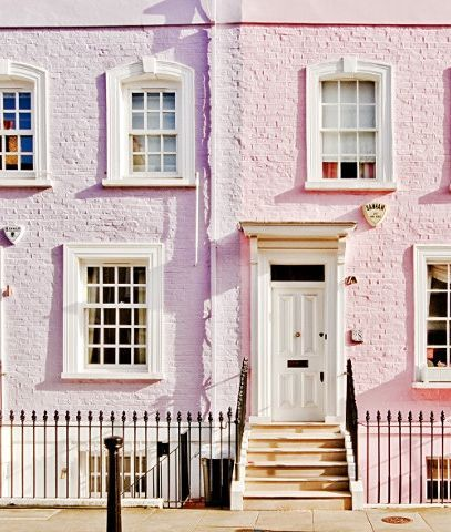 Pretty pink and purple homes in London. /