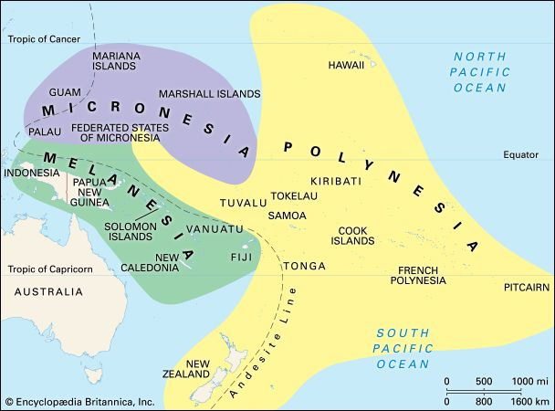 Melanesia: culture areas of the Pacific Islands [Credit: Encyclopædia Britannica, Inc.